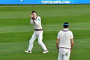 Wicket - George Bartlett of Somerset takes the catch to dismiss James Harris of Middlesex off the bowling of Roelof van der Merwe of Somerset during the Specsavers County Champ Div 1 match between Somerset County Cricket Club and Middlesex County Cricket Club at the Cooper Associates County Ground, Taunton, United Kingdom on 28 September 2017. Photo by Graham Hunt.