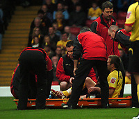 Photo: Tony Oudot/Sportsbeat Images.<br /> Watford v West Bromwich Albion. Coca Cola Championship. 03/11/2007.<br /> Jay DeMerit of Watford is carried off early on in the game