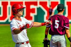 20 May 2019:  Joe Aeilts celebrates at 3rd base, arriving there from homeplate - a triple. Missouri Valley Conference Baseball Tournament - Southern Illinois Salukis v Illinois State Redbirds at Duffy Bass Field in Normal IL<br /> <br /> #MVCSPORTS