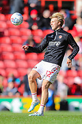 Charlton Athletic midfielder George Lapslie (32) warms up prior to the EFL Sky Bet Championship match between Charlton Athletic and Preston North End at The Valley, London, England on 3 November 2019.
