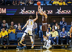 Dec 30, 2018; Morgantown, WV, USA; Lehigh Mountain Hawks guard Jordan Cohen (11) shoots a three pointer from the corner during the second half against the West Virginia Mountaineers at WVU Coliseum. Mandatory Credit: Ben Queen-USA TODAY Sports