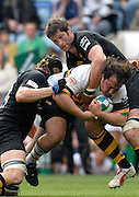 Leicester, Great Britain, Wasps Tom PALMER and right Simon SHAW hold up Saints Matias CORTESE's run, during the Heineken Cup Semi Final, Northampton Saints vs London Wasps, played at the Ricoh Stadium, on Sun 22.04.2007. [Photo Peter Spurrier/Intersport Images]