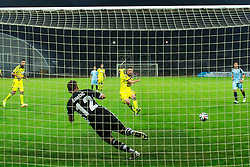 Dare Vrsic of NK Maribor scores on penalty against Vasja Simcic of ND Gorica during football match between ND Gorica and NK Maribor at NZS Super Cup of Liga Telekom Slovenije 2014/15, on August 13, 2014 in Sportni Park Nova Gorica, Nova Gorica, Slovenia. Photo by Matic Klansek Velej / Sportida.com