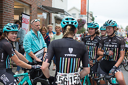 Drops Cycling Team riders discuss Stage 1 of the Ladies Tour of Norway - a 101.5 km road race, between Halden and Mysen on August 18, 2017, in Ostfold, Norway. (Photo by Balint Hamvas/Velofocus.com)