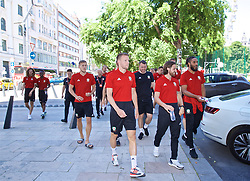 BUDAPEST, HUNGARY - Tuesday, June 11, 2019: Wales' Chris Will Vaulks, Gunter, Joe Allen and captain Ashley Williams during a pre-match walk ahead of the UEFA Euro 2020 Qualifying Group E match between Hungary and Wales. (Pic by David Rawcliffe/Propaganda)