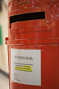 This post box is for use by prisoners on C wing at HMP Kingston. Portsmouth, United Kingdom. Kingston prison is a category C prison holding indeterminate sentenced prisoners.