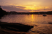 Sunset over Rockport harbor, Maine.