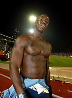 Photograph: Scott Heavey.<br />IAAf Super Grand Prix. Norwich Union London Athletics meeting from Crystal Palace. 08/08/2003.<br />Dwaine Chambers after his victory.