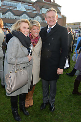 Left to right, JENNIFER SAUNDERS, CLARE BALDING and MARTIN CLUNES at the 2014 Hennessy Gold Cup at Newbury Racecourse, Newbury, Berkshire on 29th November 2014.  The Gold Cup was won by Many Clouds ridden by Leighton Aspell.