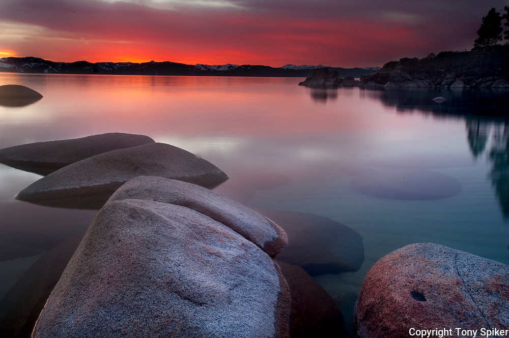 """Secret Harbor Sunset 3"" - The sun sets at Secret Beach on the Eastern Shore of Lake Tahoe"