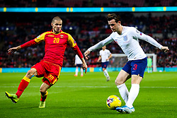 Ben Chilwell of England is challenged by Aleksandar Sofranac of Montenegro - Rogan/JMP - 14/11/2019 - FOOTBALL - Wembley Stadium - London, England - England v Montenegro - UEFA Euro 2020 Qualifiers.