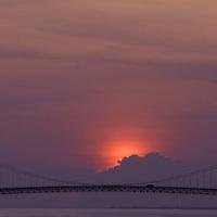 Puente de Angostura sobre el Rio Orinoco al atardecer, Ciudad Bolivar, Estado Bolivar, Venezuela