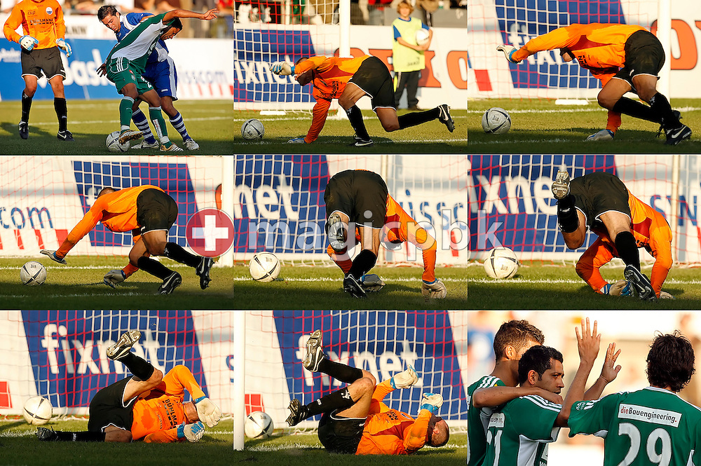 A composite photo shows FC Toess's keeper Bruno Meili acting after FCSG's Adrian Fernandez scored the third goal with his heel (photo in the upper left corner) during the Swiss soccer cup game between FC Toess and the FC St. Gallen at the Schuetzenwiese stadium in Winterthur, Switzerland, Saturday, September 15, 2007. FC St. Gallen wins the game against FC Toess by eight to nil. Last photo (lower right corner) shows Fernandez who is congratulated by his teammates. (Photo by Patrick B. Kraemer / MAGICPBK)