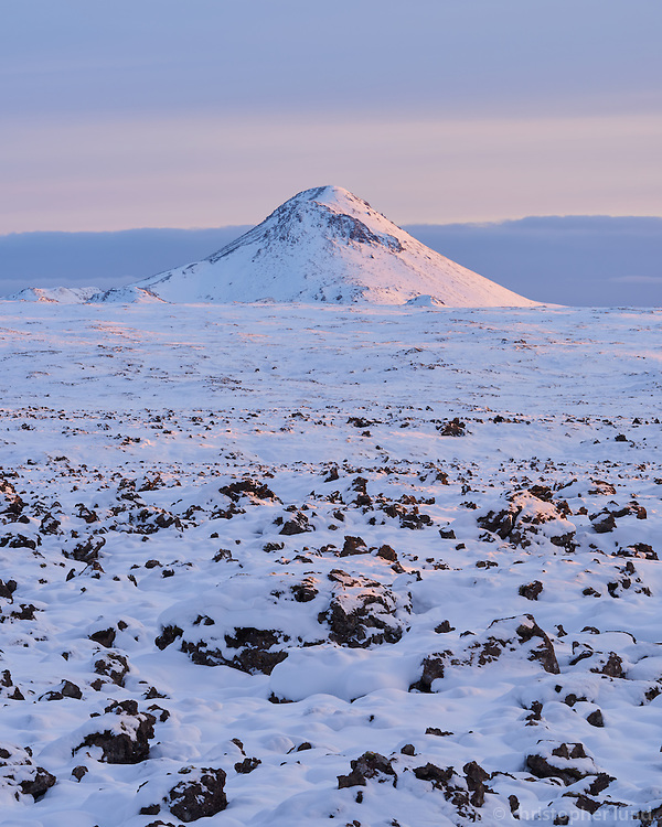 Mount Keilir at sunset. Reykjanes Peninsula, Iceland.