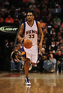 Mar. 6 2010; Phoenix, AZ, USA;  Phoenix Suns forward Grant Hill (33) brings the ball down the court in the second half at the US Airways Center. The Suns defeated the Pacers 113 to 105. Mandatory Credit: Jennifer Stewart-US PRESSWIRE.