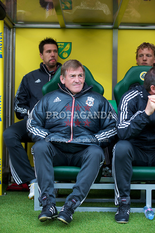 NORWICH, ENGLAND - Saturday, April 28, 2012: Liverpool's manager Kenny Dalglish before the Premiership match against Norwich City at Carrow Road. (Pic by David Rawcliffe/Propaganda)