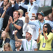 LONDON, ENGLAND - JULY 15: Supporters in the family box react during the Men's Doubles Final between Lucasz Kubot of Poland and Brazil's Marcelo Melo against  Mate Pavic of Croatian and Oliver Marach of Austria on Center Court during the Wimbledon Lawn Tennis Championships at the All England Lawn Tennis and Croquet Club at Wimbledon on July 15, 2017 in London, England. (Photo by Tim Clayton/Corbis via Getty Images)