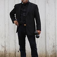 """Salvador Duran (vocals, cajón, maracas) of the cumbria band """"Sergio Mendoza Y La Orkesta"""" of Tuscon, AZ."""