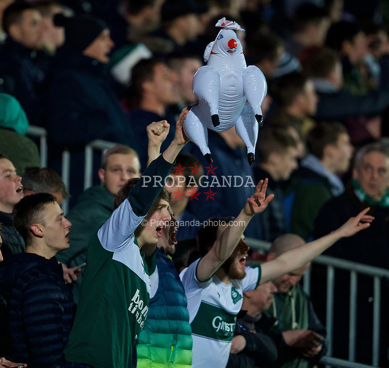 NEWPORT, WALES - Wednesday, December 21, 2016:  A Plymouth Argyle supporter with an inflatable sheep during the FA Cup 2nd Round Replay match against Newport County at Rodney Parade. (Pic by David Rawcliffe/Propaganda)