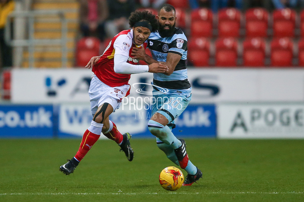 Rotherham United forward, on loan from Chelsea, Isaiah Izzy Brown (37)  goes past Queens Park Rangers  midfielder Sandro (30)  during the EFL Sky Bet Championship match between Rotherham United and Queens Park Rangers at the New York Stadium, Rotherham, England on 10 December 2016. Photo by Simon Davies.