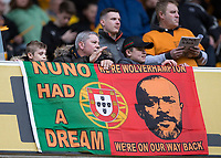 Football - 2017 / 2018 Sky Bet Championship - Wolverhampton Wanderers vs. Sheffield Wednesday<br /> <br /> Wolverhampton Wanderer's fans pay tribute to Wolverhampton Wanderers manager Nuno Espírito Santo at Molineux.<br /> <br /> COLORSPORT