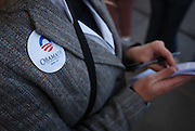 Writer Rachel Beckelhymer takes notes during an Obama rally in Durango, Colorado.