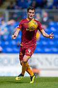 Carl McHugh (#4) of Motherwell FC controls the ball during the Ladbrokes Scottish Premiership match between St Johnstone and Motherwell at McDiarmid Stadium, Perth, Scotland on 11 May 2019.