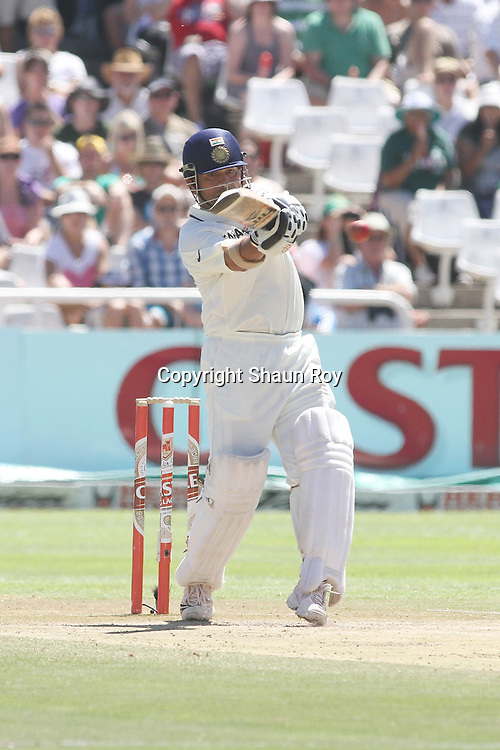CAPE TOWN, SOUTH AFRICA - 4 January 2011, Sachin Tendulkar of India pulls a delivery towards the boundary during day 3 of the 3rd Castle Test between South Africa and India held at Sahara Park Newlands Stadium in Cape Town, South Africa on the 4 January 2011 .Photo by: Shaun Roy