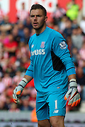 Stoke City goalkeeper Jack Butland during the Barclays Premier League match between Stoke City and West Bromwich Albion at the Britannia Stadium, Stoke-on-Trent, England on 29 August 2015. Photo by Aaron Lupton.