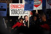 Mark Duggan's aunt, Carole speaks from the steps of Tottenham Police Station at a vigil after a jury returned a verdict of 'lawful killing'.<br /> Duggan was shot by police in August 2011 prompting rioting across the UK.<br /> <br /> Tottenham, London, UK.<br /> January 11th 2013<br /> <br /> Picture by Zute Lightfoot