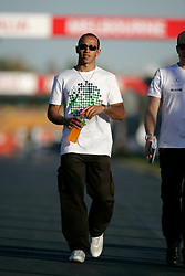 Melbourne. Australia - Sunday, March 18, 2007: Lewis Hamilton (GBR, Vodafone McLaren Mercedes) walks the circuit as he prepares for the opening Grand Prix of the Formula One World Championship in Australia.(Pic by Michael Kunkel/Propaganda/Hoch Zwei)