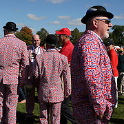 Ryder Cup 2016. Spectators from Great Britain watching practice day at the Hazeltine National Golf Club on September 29, 2016 in Chaska, Minnesota.  (Photo by Tim Clayton/Corbis via Getty Images)