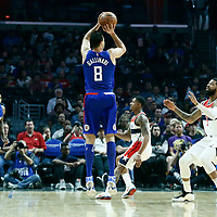09 December 2017: LA Clippers forward Danilo Gallinari (8) takes a jump shot during the LA Clippers 113-112 victory over the Washington Wizards, at the Staples Center, Los Angeles, California, USA.