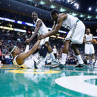 03 April 2013: Boston Celtics power forward Jeff Green (8) and Boston Celtics shooting guard Jordan Crawford (27) helps Boston Celtics small forward Paul Pierce (34) to stand up during the Boston Celtics 98-93 victory over the Detroit Pistons at the TD Garden, Boston, Massachusetts, USA.