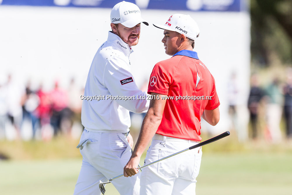 Team US congratulate each other at the end of the round during the round 1 of the World Cup of Golf at Kingston Heath Golf Club, Melbourne Australia. Thursday 24th November 2016. Copyright Photo Brendon Ratnayake / www.photosport.nz