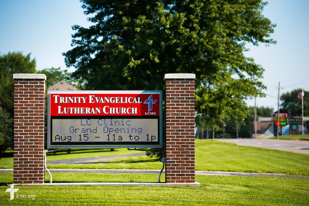 A sign promotes the new LC Clinic at Trinity Lutheran Church on Saturday, Aug. 15, 2015, in Creston, Iowa. LCMS Communications/Erik M. Lunsford