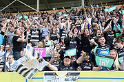 Hull FC fans celebrate the team scoring a try during the Betfred Super League match between Hull FC and Hull Kingston Rovers at Kingston Communications Stadium, Hull, United Kingdom on 19 April 2019.