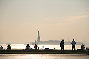 Statue of Liberty seen from battery Park in downtown Manhattan