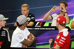October 20, 2016 - Austin, United States of America - Motorsports: FIA Formula One World Championship 2016, Grand Prix of United States, .#27 Nico Hulkenberg (GER, Sahara Force India F1 Team), #44 Lewis Hamilton (GBR, Mercedes AMG Petronas Formula One Team), #5 Sebastian Vettel (GER, Scuderia Ferrari), #20 Kevin Magnussen (DEN, Renault Sport Formula 1 Team), #8 Romain Grosjean (FRA, Haas F1 Team) (Credit Image: © Hoch Zwei via ZUMA Wire)