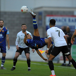 TELFORD COPYRIGHT MIKE SHERIDAN Fabien Robert  of Gloucester clears with an overhead kick during the National League North fixture between AFC Telford United and Gloucester City at the New Bucks Head Stadium on Tuesday, September 3, 2019<br /> <br /> Picture credit: Mike Sheridan<br /> <br /> MS201920-015