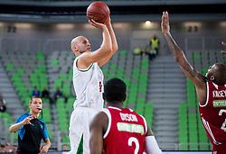 Mirko Mulalic #8 of KK Union Olimpija vs Terence Kinsey of Hapoel during basketball match between KK Union Olimpija Ljubljana (SLO) and Hapoel Jerusalem (ISR) in Round #4 of 7Days EuroCup 2016/17, on October 26, 2016 in Arena Stozice, Ljubljana, Slovenia. Photo by Vid Ponikvar / Sportida