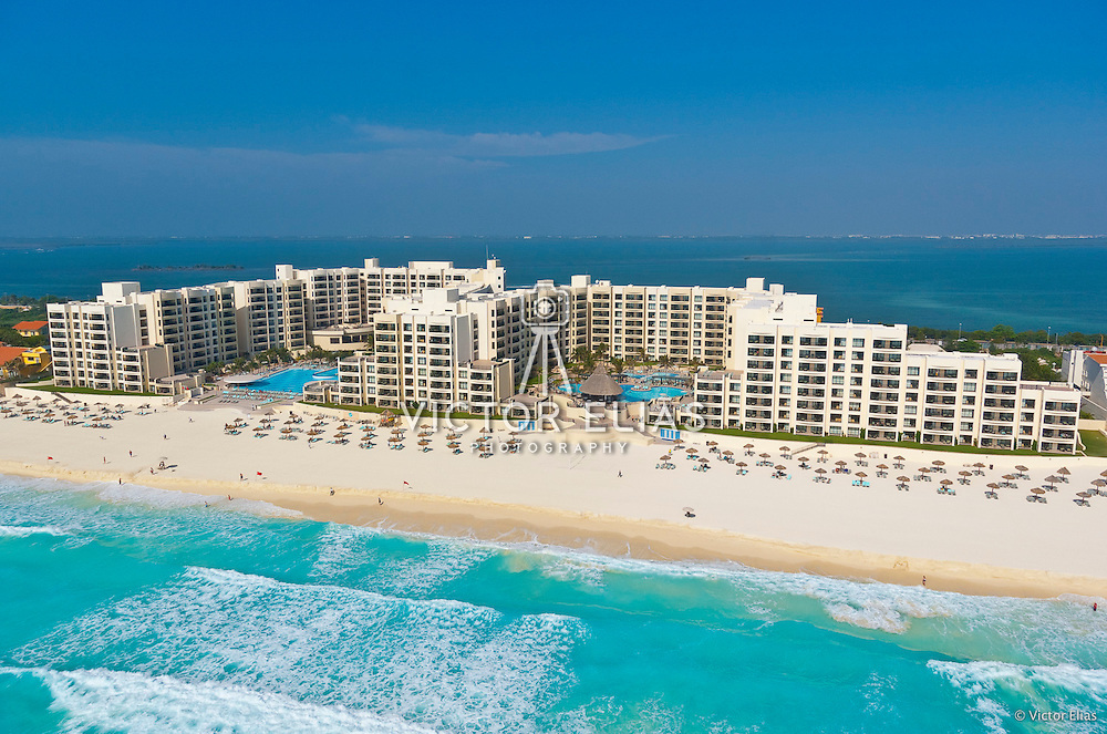 Aerial view of Royal Resorts Cancun. Quintana Roo, Mexico.