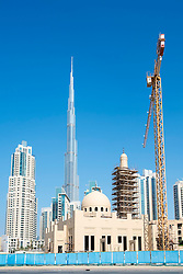 New mosque under construction at new Business Bay commercial and residential area in Dubai United Arab Emirates