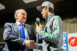 Peter Prevc with and a replica of Four Hills Tournament trophy Eagle for Ljubo Jasnic during press conference of Slovenian Ski jumping team after World Cup competitions in Vikersund, on February 16, 2016 in Maximarket, Ljubljana, Slovenia. Photo by Vid Ponikvar / Sportida