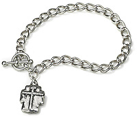 passion of the christ charm on a silver bracelet