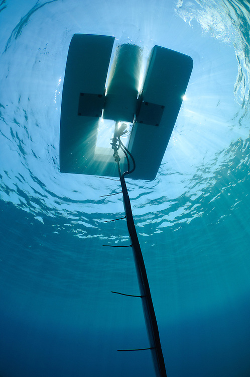 A Resen Wave generator deployed at Pemuteran, Bali, Indonesia.  The generator will be used to power a Biorock installation.