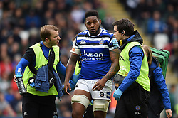 Levi Douglas of Bath Rugby leaves the field after suffering an injury - Mandatory byline: Patrick Khachfe/JMP - 07966 386802 - 18/05/2019 - RUGBY UNION - Welford Road - Leicester, England - Leicester Tigers v Bath Rugby - Gallagher Premiership Rugby