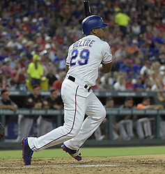 July 28, 2017 - Arlington, TX, USA - The Texas Rangers' Adrian Beltre gets a hit during the fifth inning against the Baltimore Orioles at Globe Life Park in Arlington, Texas, on Friday, July 28, 2017. (Credit Image: © Max Faulkner/TNS via ZUMA Wire)