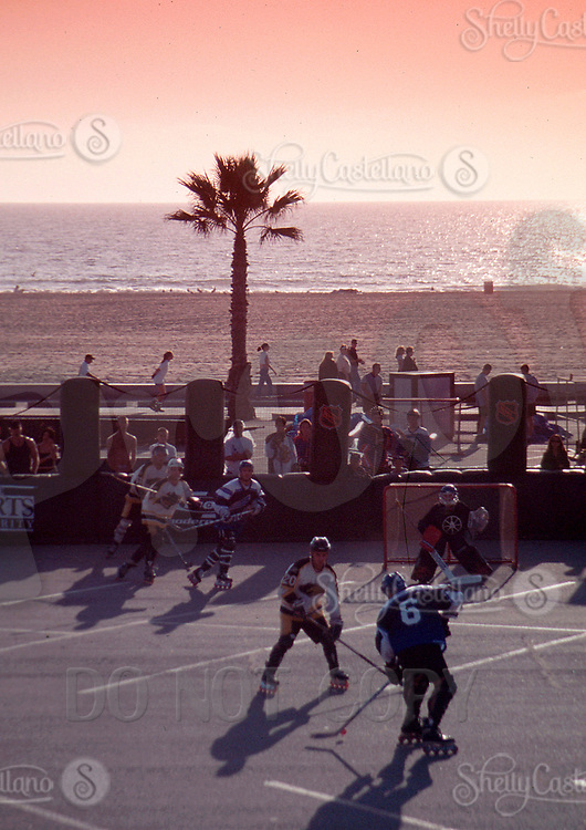 May 22, 2002; Los Angeles, CA, USA; NHL Breakout. Roller Hockey and Inline Skating is a hot sport in 2002. Kids, women, adults are playing in leagues throughout the United States and Canada that play year around.<br />