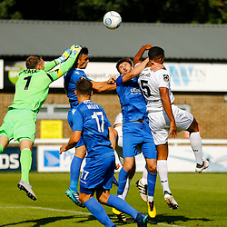 Eastleighs keeper Graham Stack punches the ball away during the National League match between Dover Athletic FC and Eastleigh FC at Crabble Stadium, Kent on 25 August 2018. Photo by Matt Bristow.